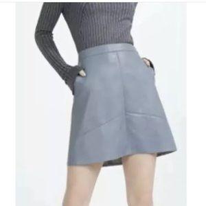 Zara blue faux leather skirt size medium